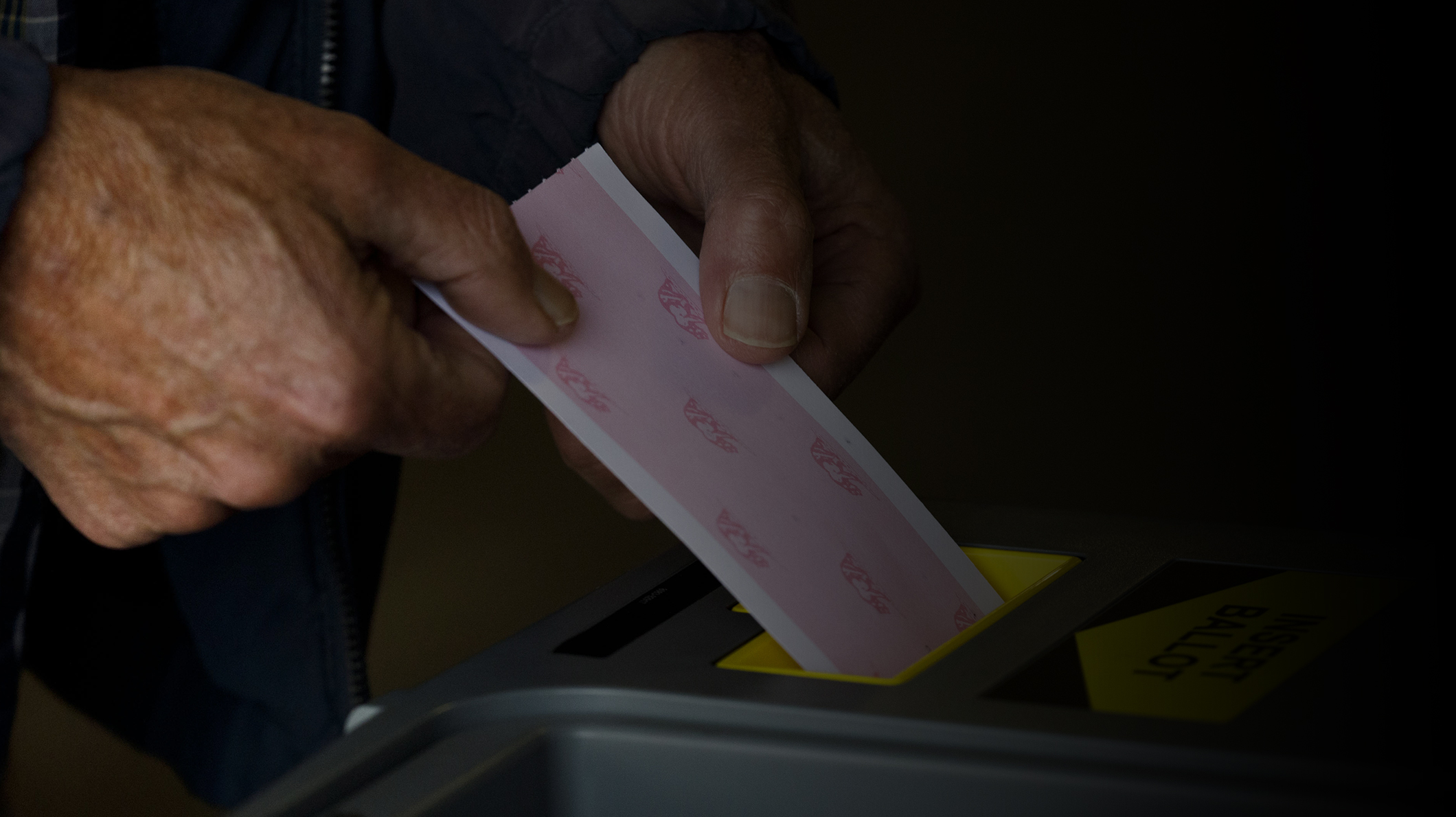"A hand deposits a ballot in the slot of a ballot box, a label on the ballot box reads ""Insert Ballot"""