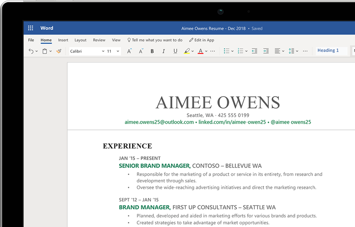 A computer screen showing a resume being created in Word on the web.