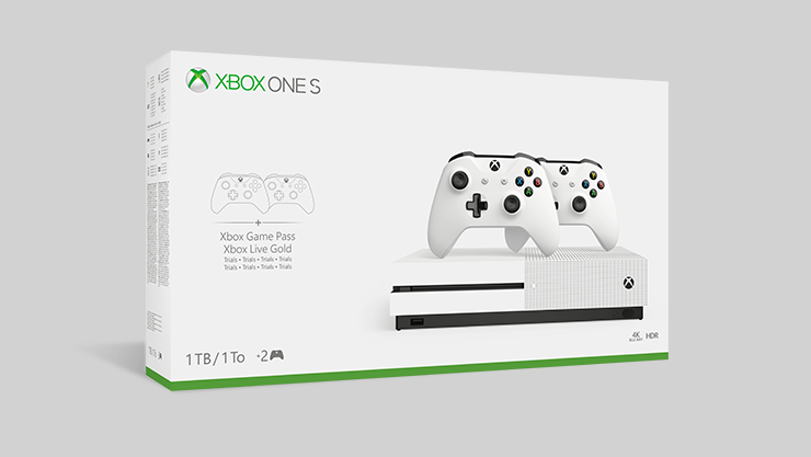 Pack Console Xbox One S 1To - deux manettes