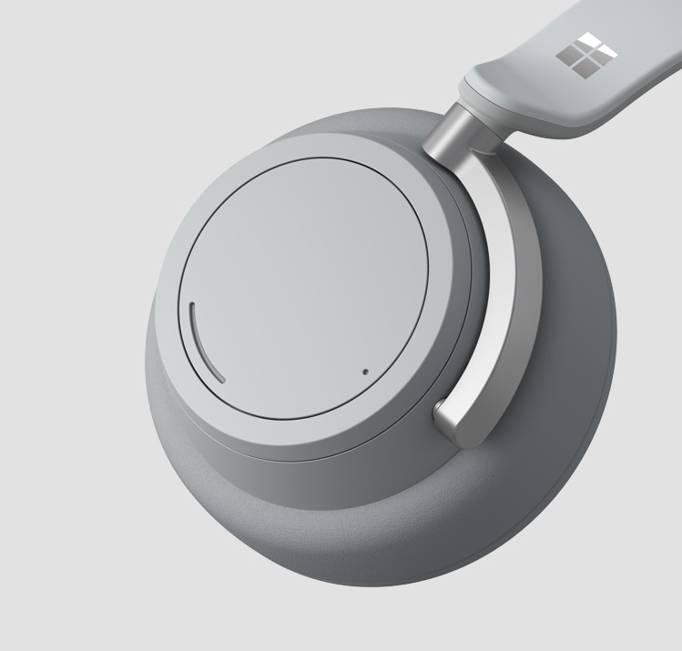 A close-up of one ear cup of Surface Headphones