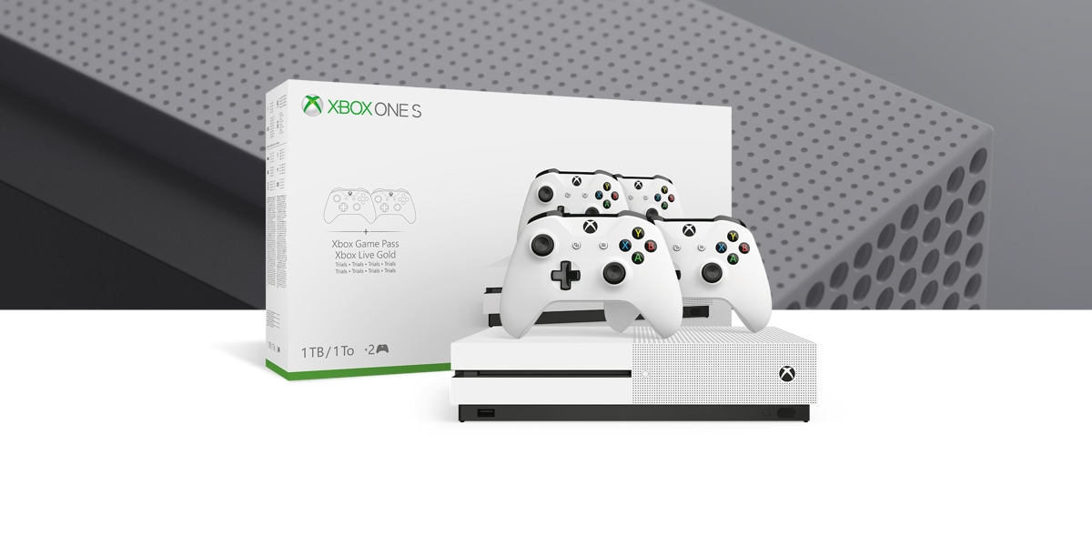 Xbox One S console with two controllers with the buy box