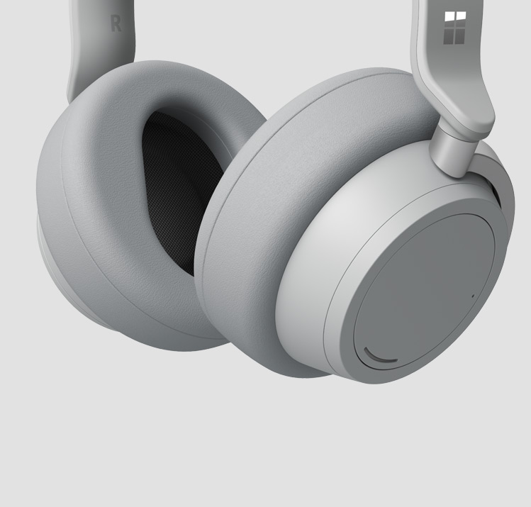 A close-up image of Surface Headphones soft over-ear ear cups