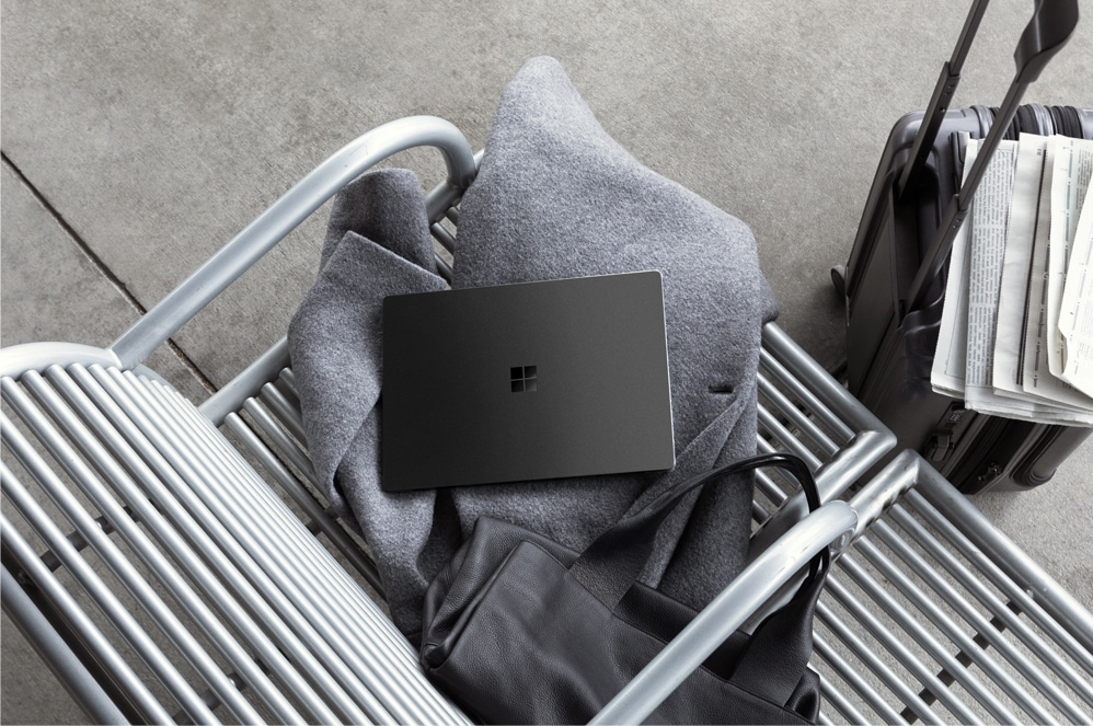 Surface Laptop 2 on a bench