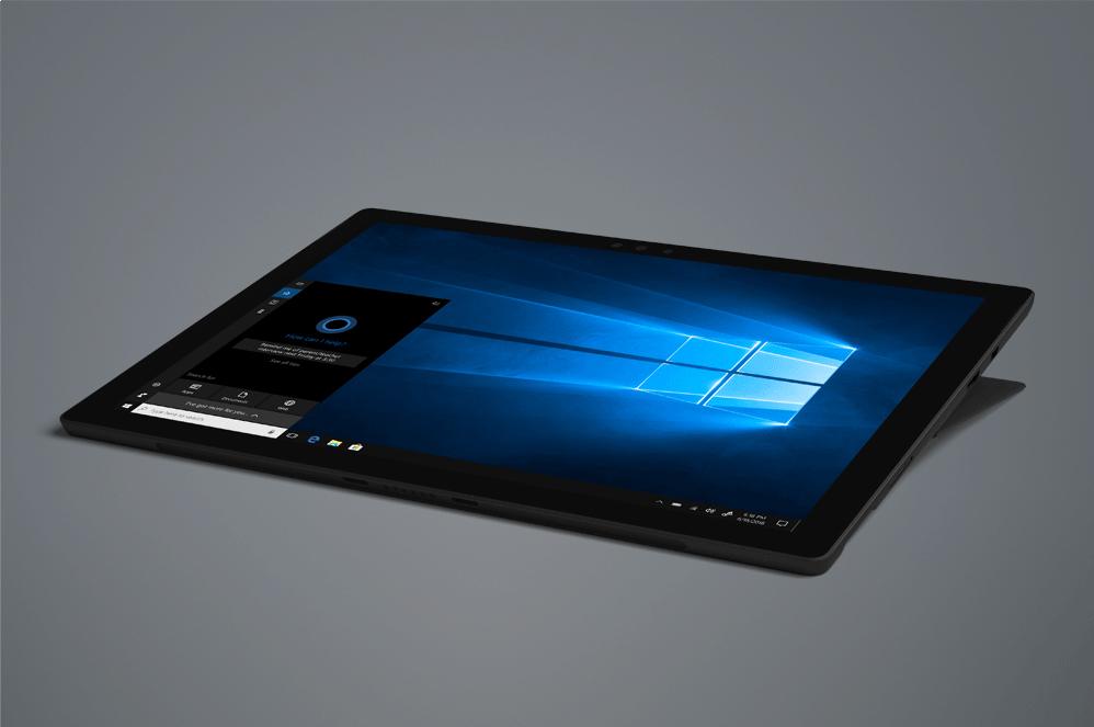 Schwarzes Surface Pro 6 im Studio-Modus mit Windows-Startbildschirm