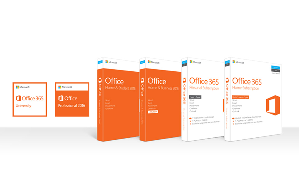 A row of boxes of Office 2016 and Office 365 products for PC