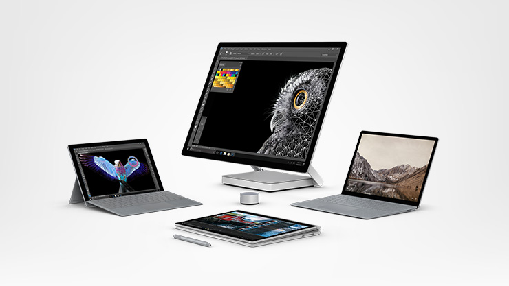 Surface Pro, Surface Book, Surface Laptop, Surface Studio