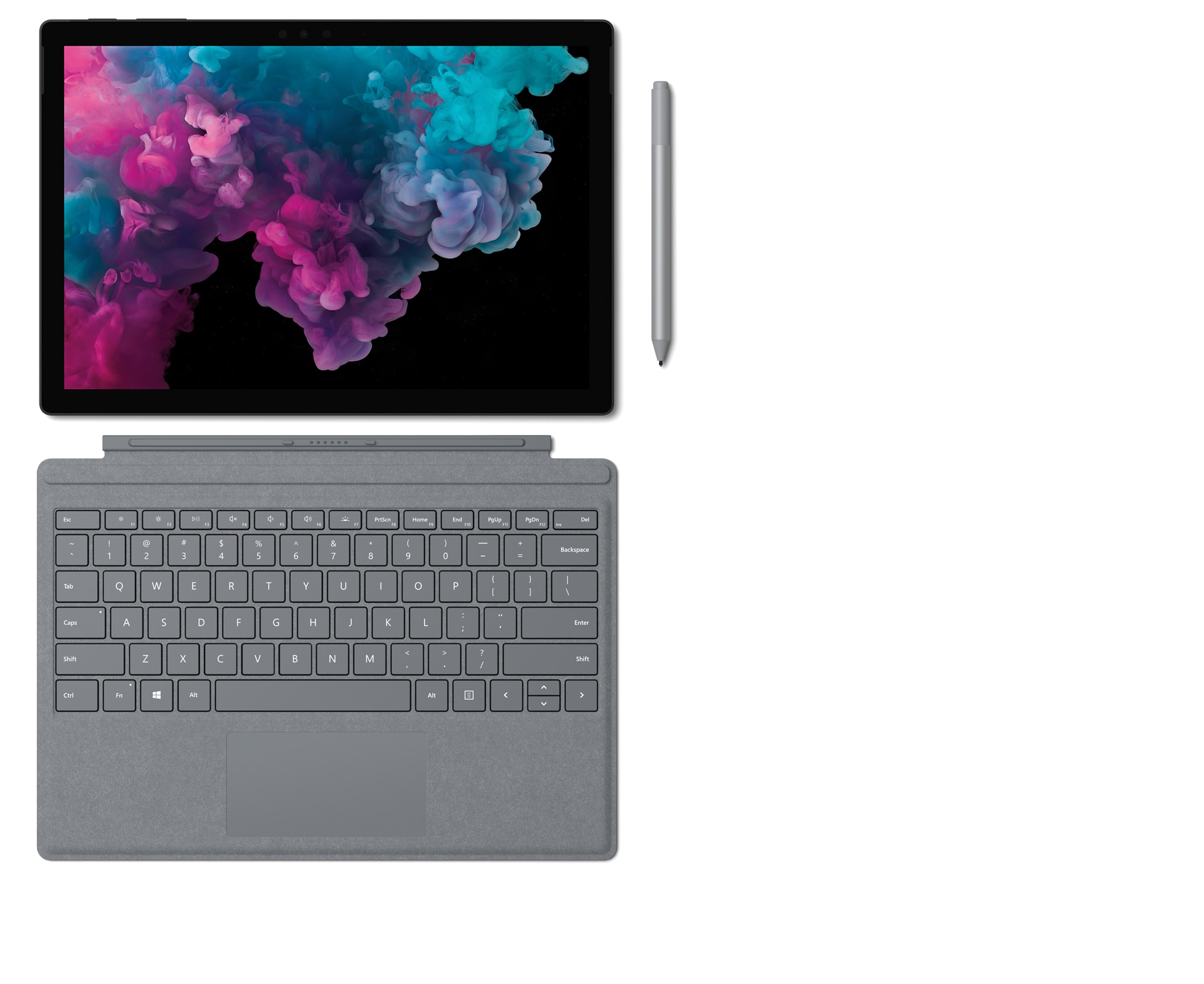 Surface Pro 6 with Surface Type Cover, Surface Pen and Surface Arc Mouse.
