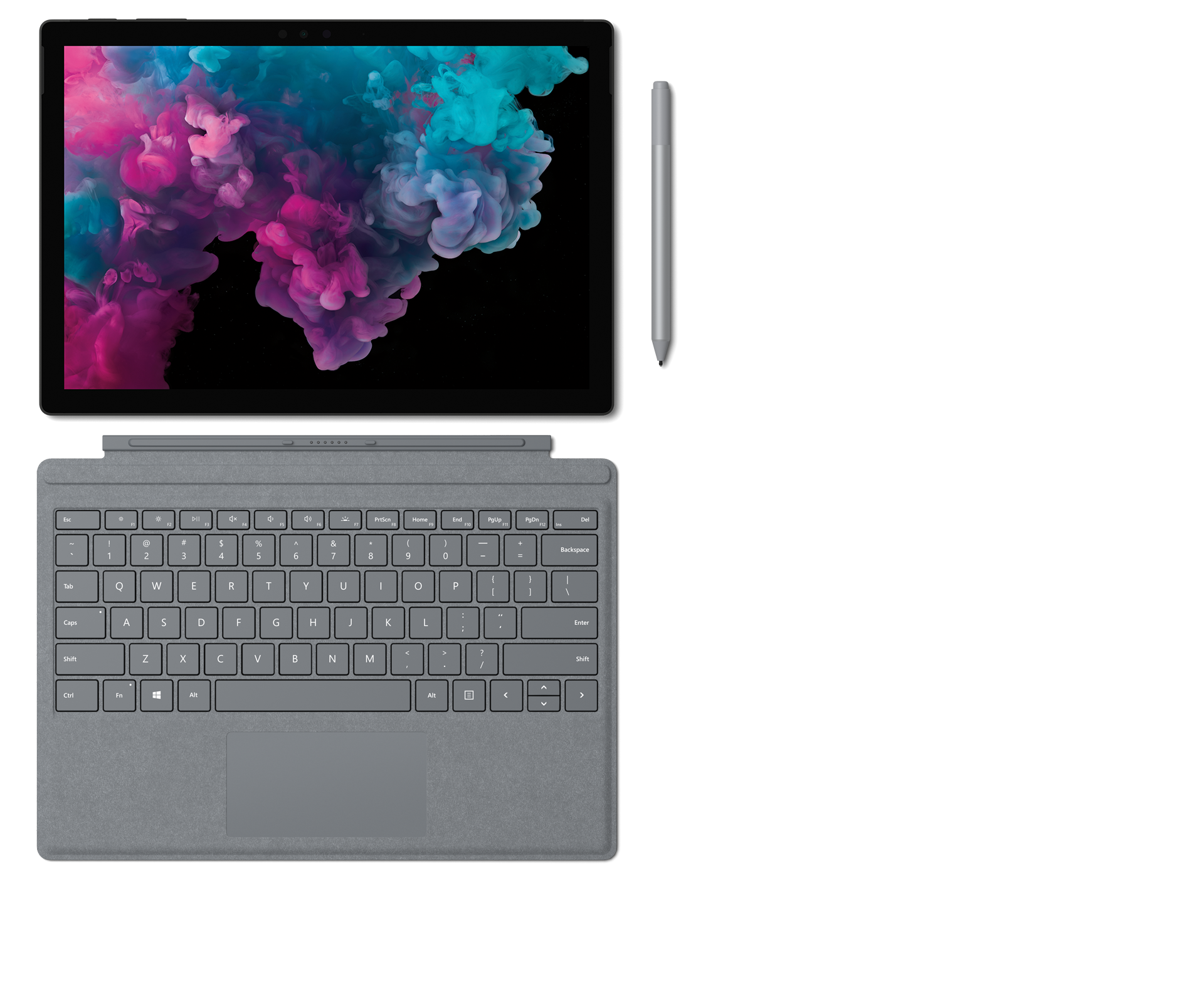 Surface Pro 6 med Surface Type Cover, Surface-pennan och Surface Arc Mouse.