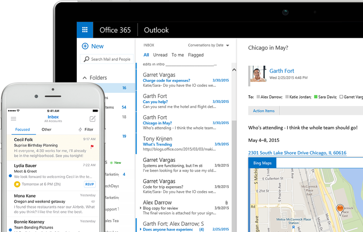 A tablet and a phone each displaying an inbox in Outlook. There are different tabs and folders to sort through emails