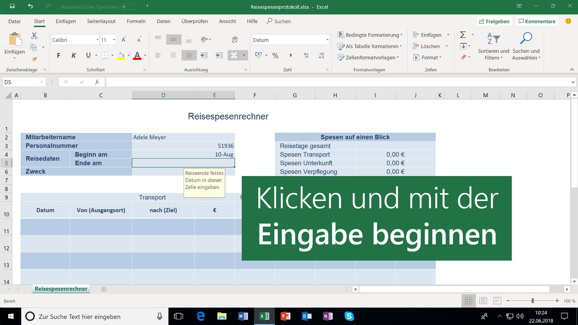 Erstellen einer neuen Arbeitsmappe - Excel