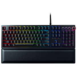 Front view of Razer Huntsman Elite Opto-Mechanical Gaming Keyboard with back light off
