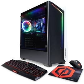 Right angled view of CyberPower MSAAG1000 Gaming PC with keyboard and mouse