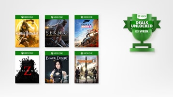 E3 Deals Unlocked logo met 6 Xbox games