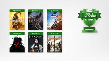 6 Xbox games and E3 Deals Unlocked logo