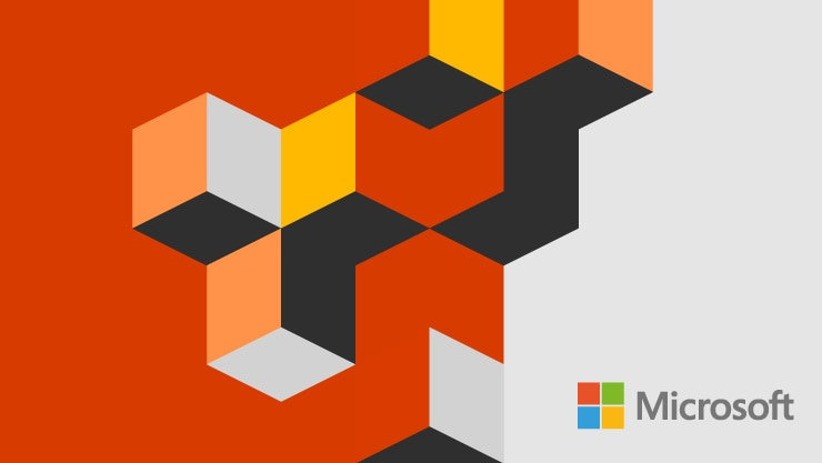 Graphic illustration from Ignite comprised of colorful geometric blocks and the Microsoft logo