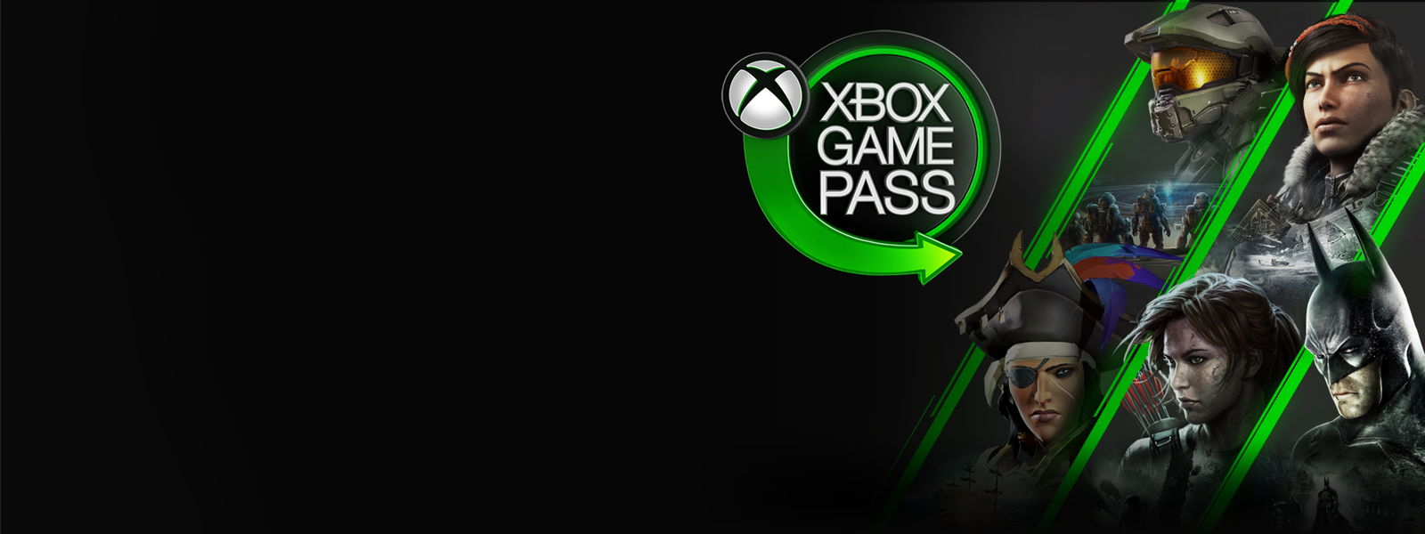 Xbox Game Pass sign and video game characters.