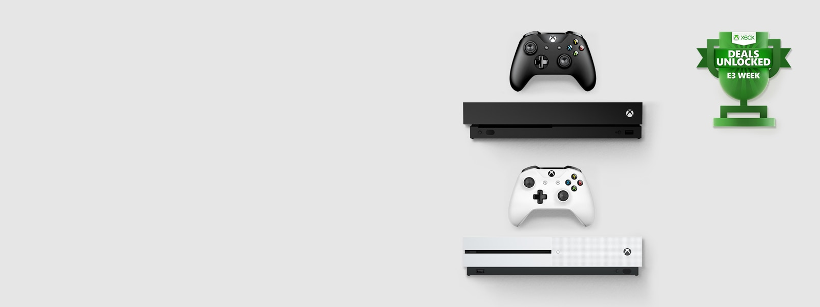 Xbox One X console, Xbox One S console, E3 Deals Unlocked logo