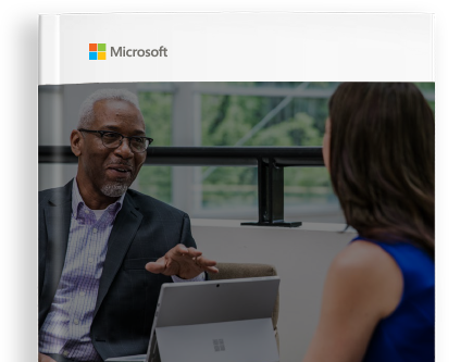 The e-book cover with a photograph of two people talking and the Microsoft logo