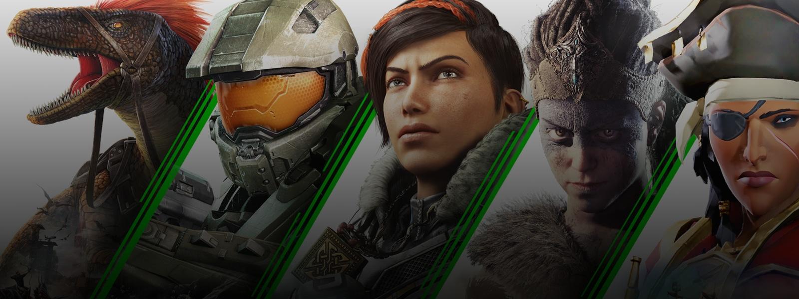 Varios personajes de los videojuegos que se incluyen en Xbox Game Pass para PC (Beta)