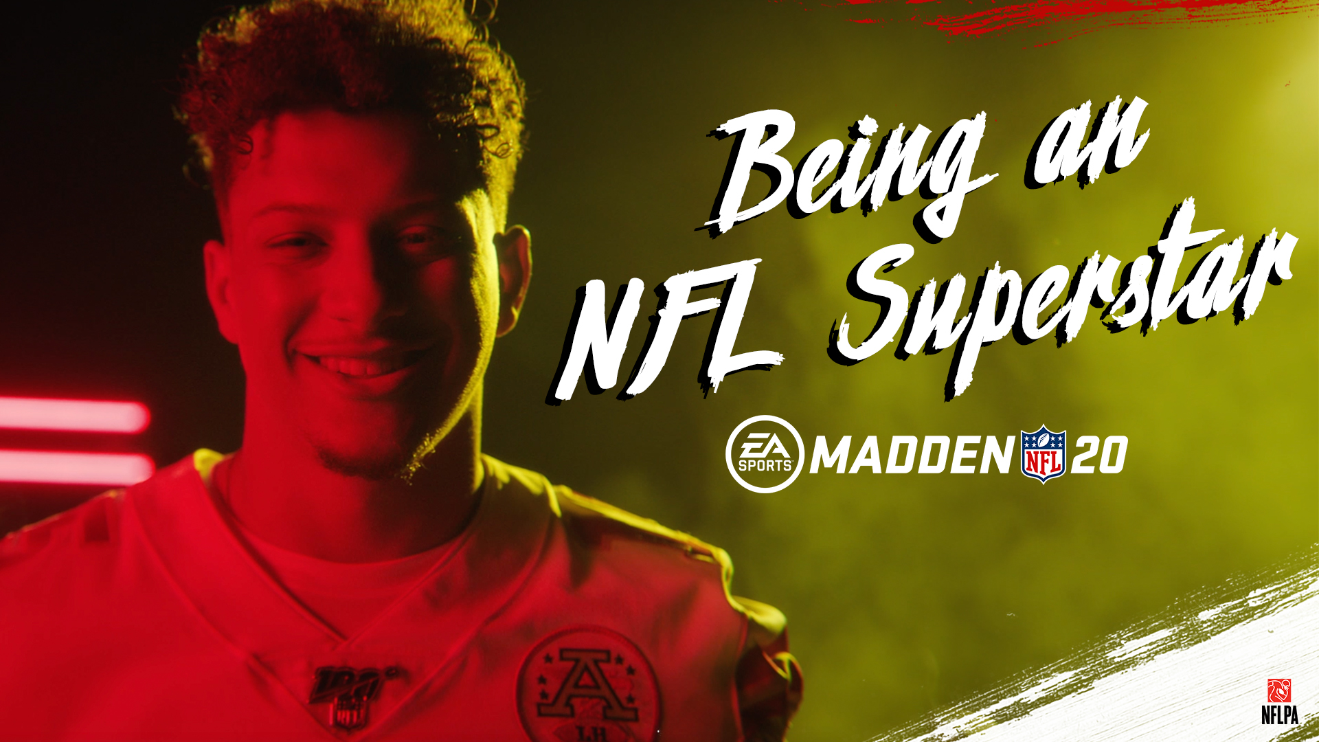 154bd1f8085 Being an NFL Superstar, EA Madden 20 logo, player Patrick Mahomes in red  lighting