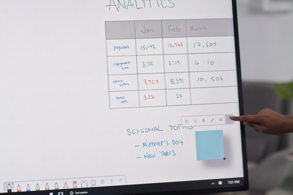 A person uses touch to interact with Microsoft Whiteboard on Surface Hub 2S
