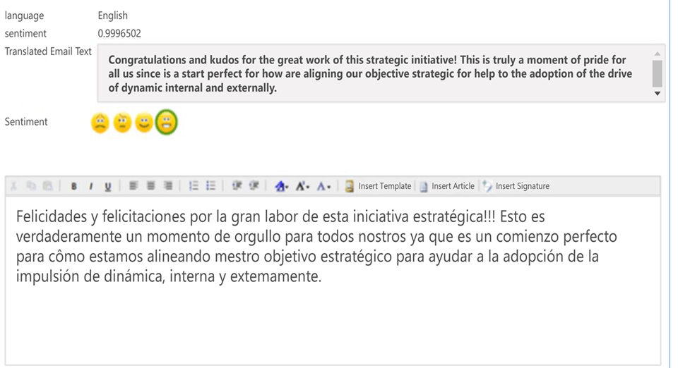Screenshot that depicts how the Text Analytics API in Azure works. It automatically translates text,  and assigns a sentiment score,  in the form of an emoji,  to the text.