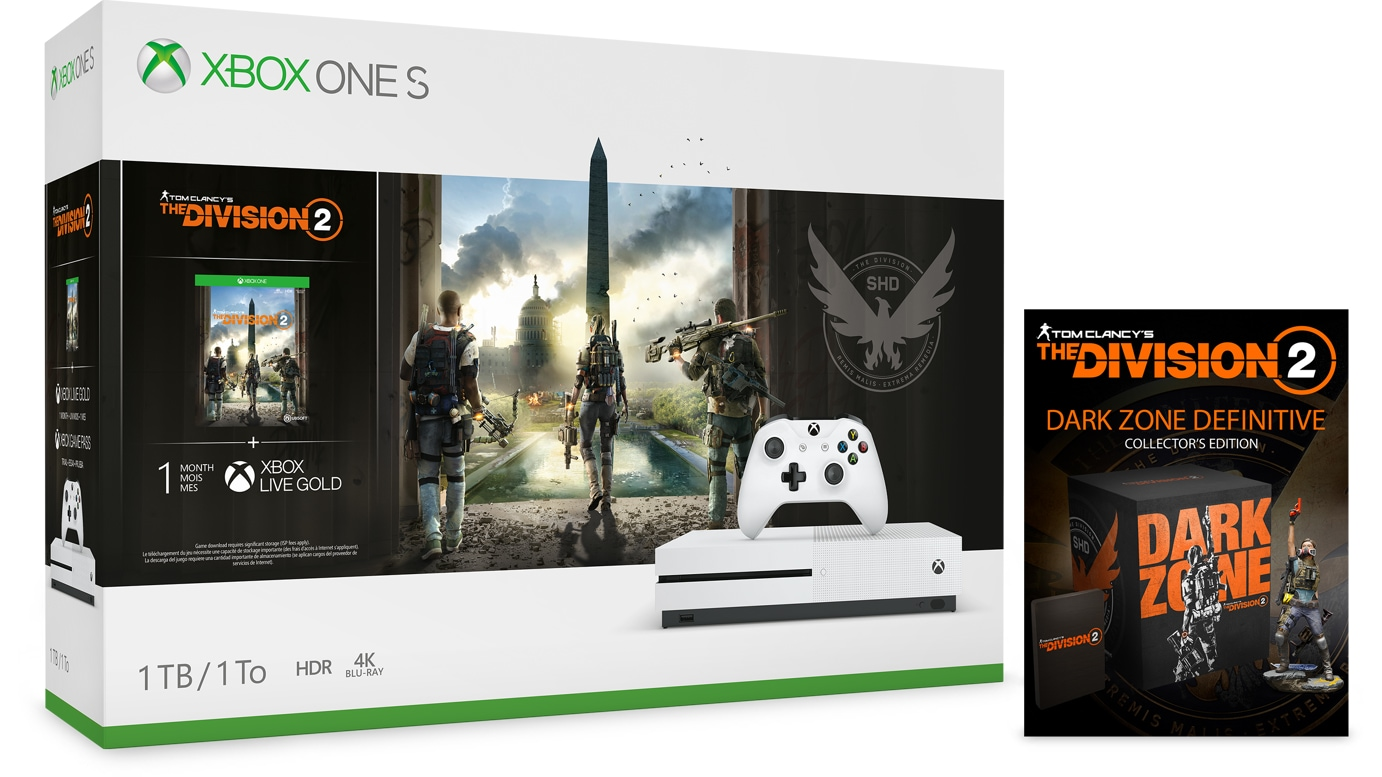 Tom Clancy's The Division 2 Xbox One S bundle, and Definitive Edition game for Xbox One.