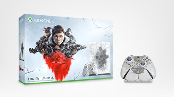 Xbox One X Gears 5 Limited Edition Bundle, Xbox Wireless Controller – Gears 5 Kait Diaz Limited Edition, and Seagate Gears 5 Special Edition 2TB Game Drive for Xbox One.