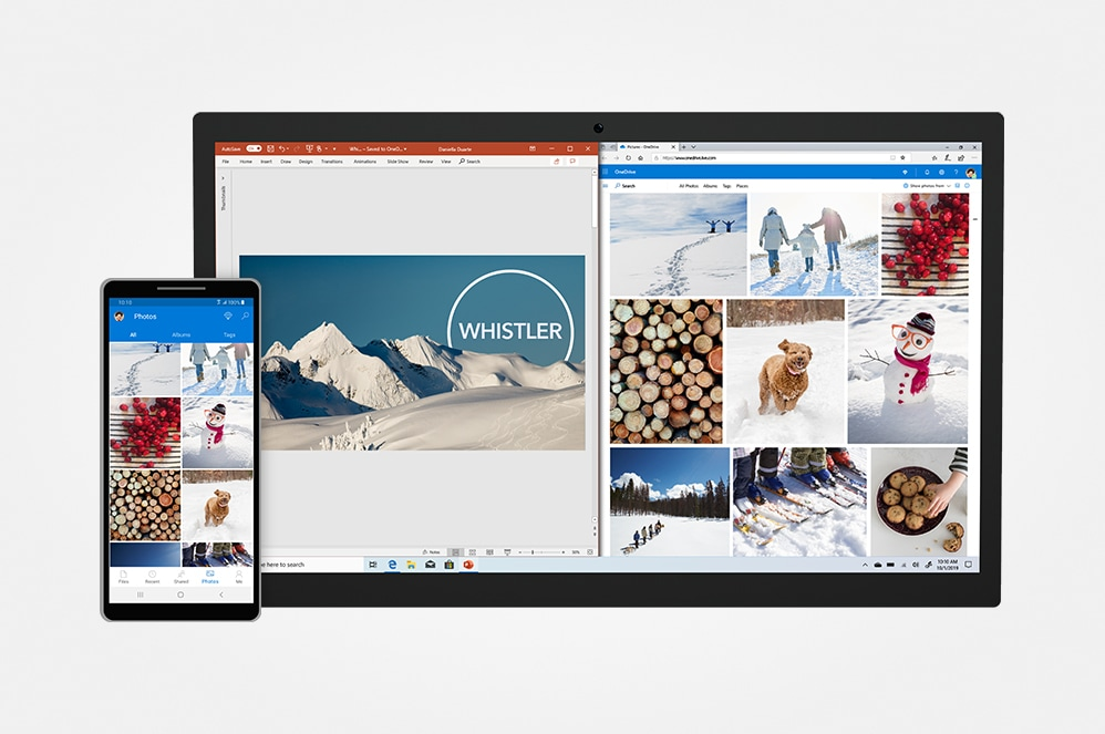 OneDrive and PowerPoint on phone and tablet