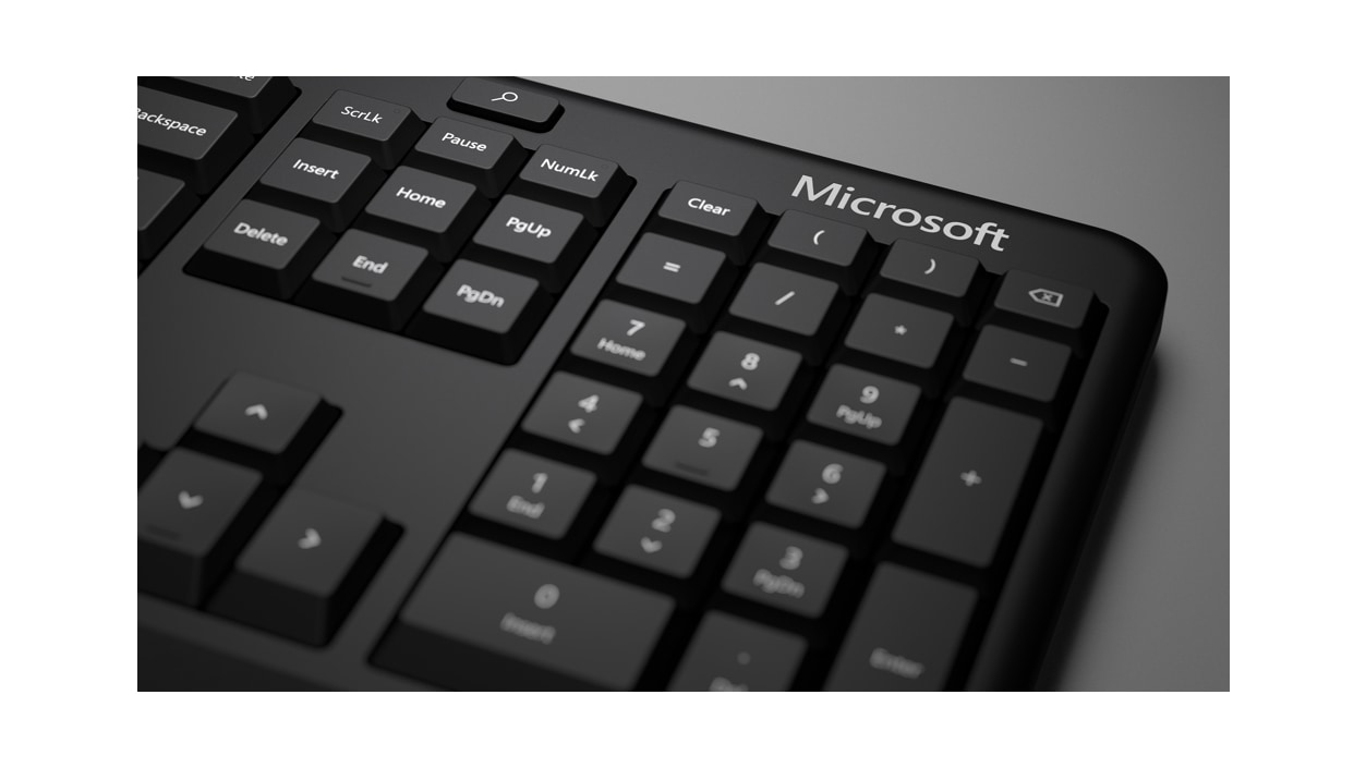 Close-up of the number pad on Microsoft Ergonomic Keyboard