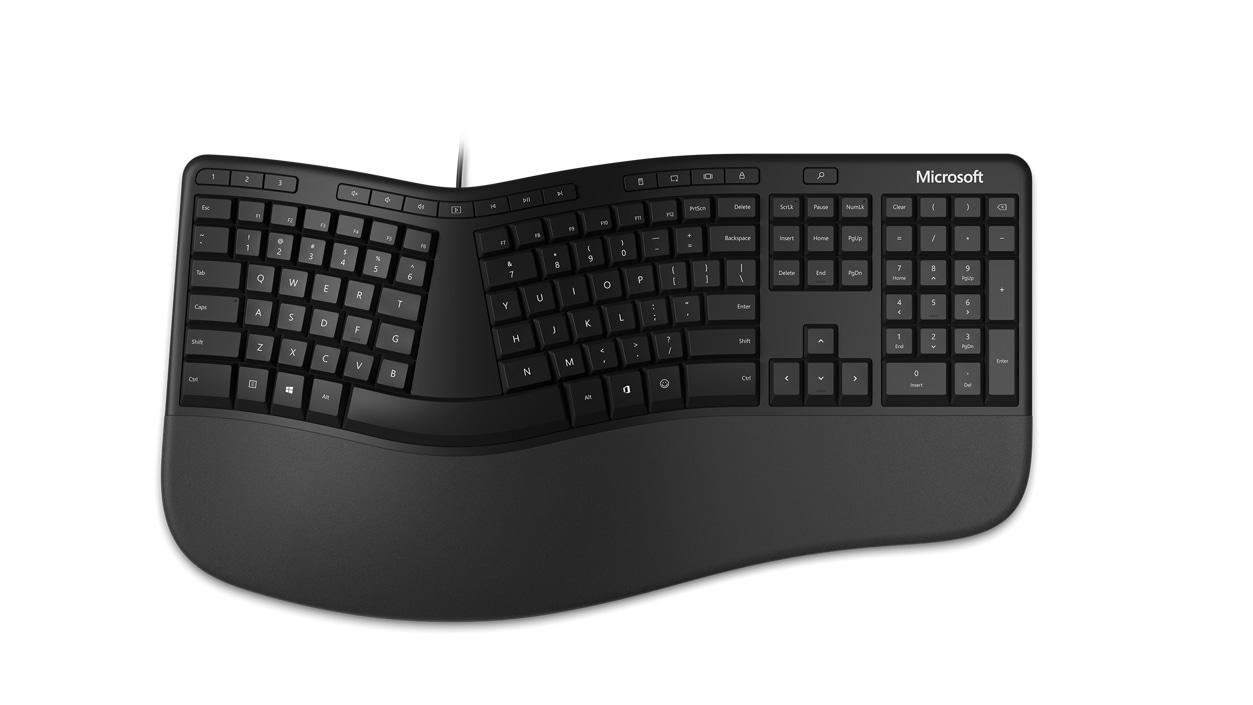 Top view of the split design on Microsoft Ergonomic Keyboard