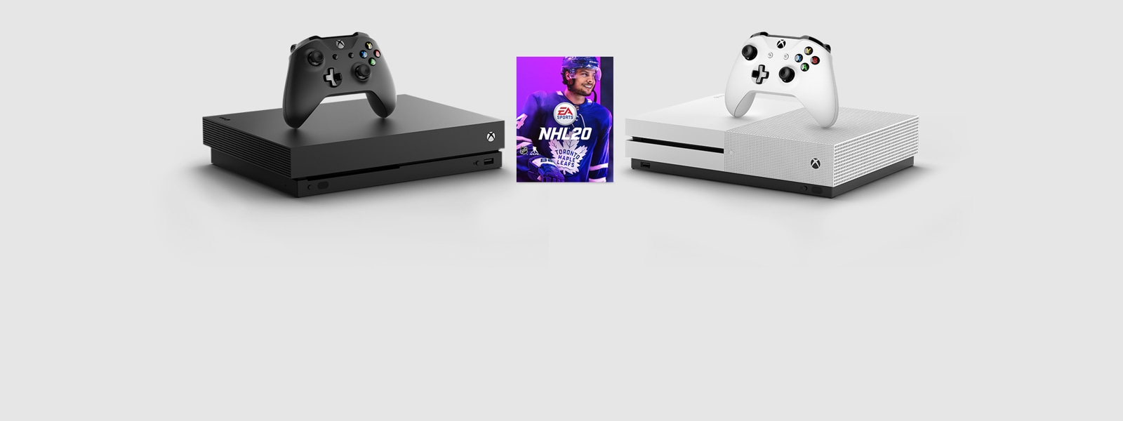 Xbox One X and Xbox One S consoles with NHL20 for Xbox One.