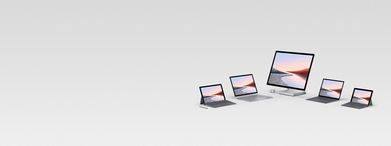 Useiden Surface-tietokoneiden näyttö