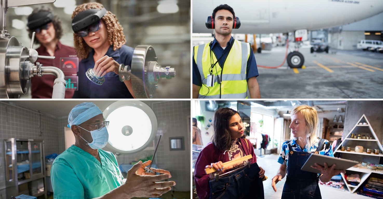 Photographs of four different types of Firstline Workers in four different industries: manufacturing, aviation, healthcare, and retail