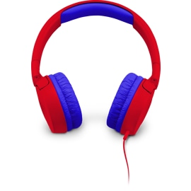 front view of the JBL JR300 Red headphones
