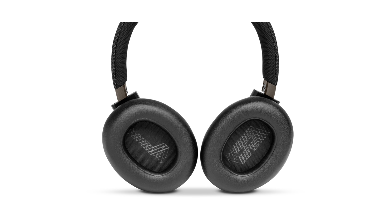 Top down view of JBL LIVE 650BTNC Wireless Headphones with rotated ear-cups