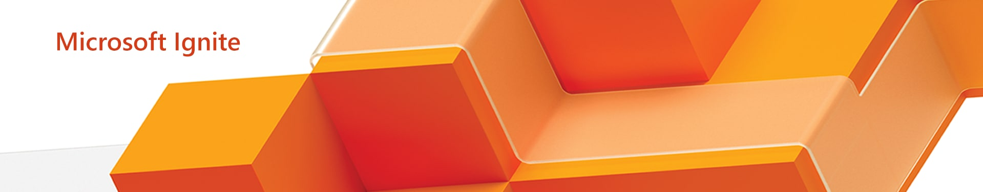Microsoft Ignite event graphic composed of a bright orange geometric pattern with a clear band forming a path over the top