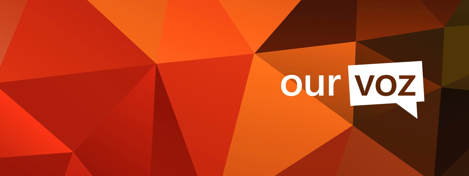 Orange background banner with the logo Our Voz.