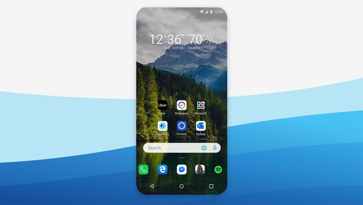 Microsoft Launcher home screen on Android phone