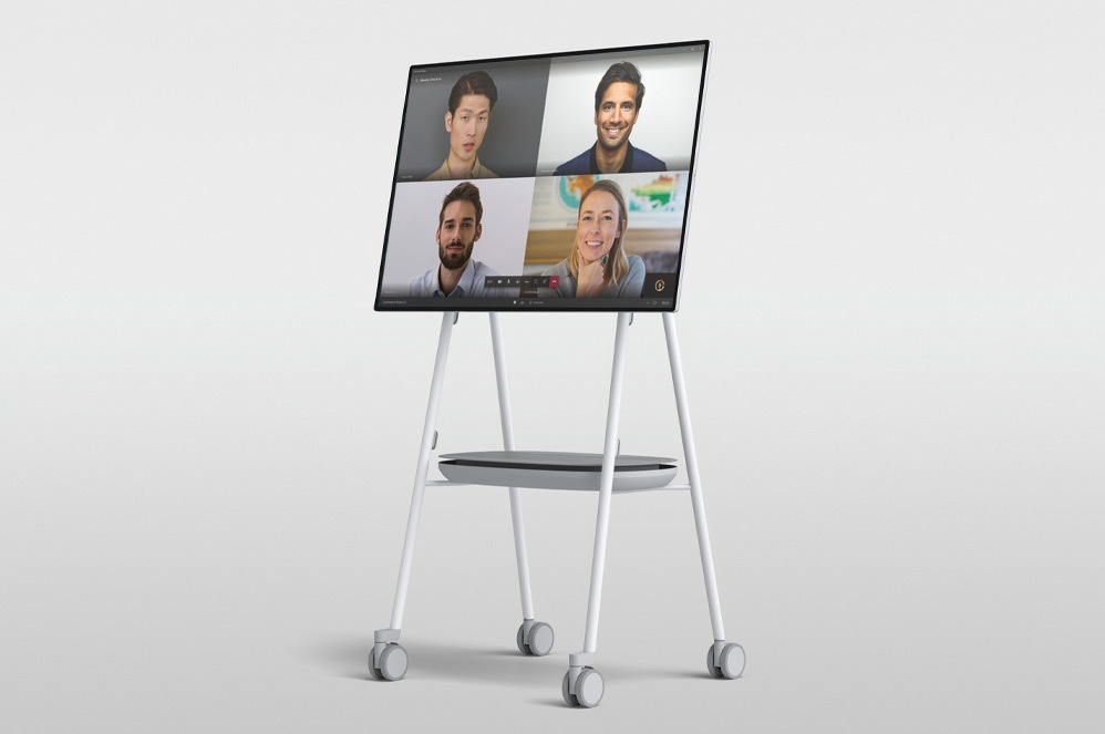 A Microsoft Teams video call on Surface Hub 2S