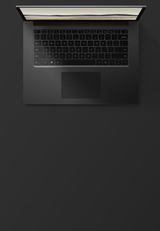 15 吋霧黑色 Surface Laptop 3 的俯視圖