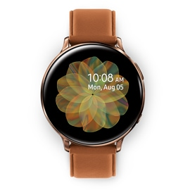 Galaxy Watch Active 2 44 mm gold and brown front view
