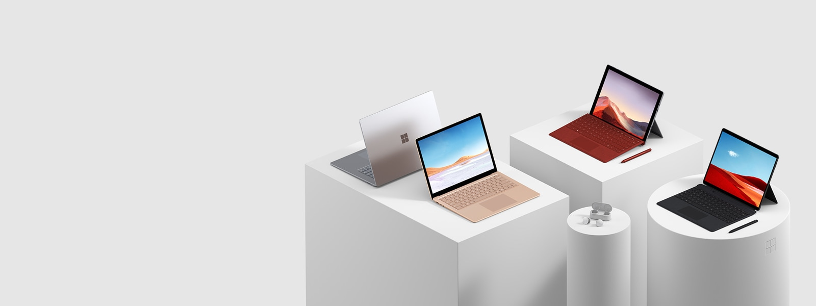 A display of Surface computers and tablets.
