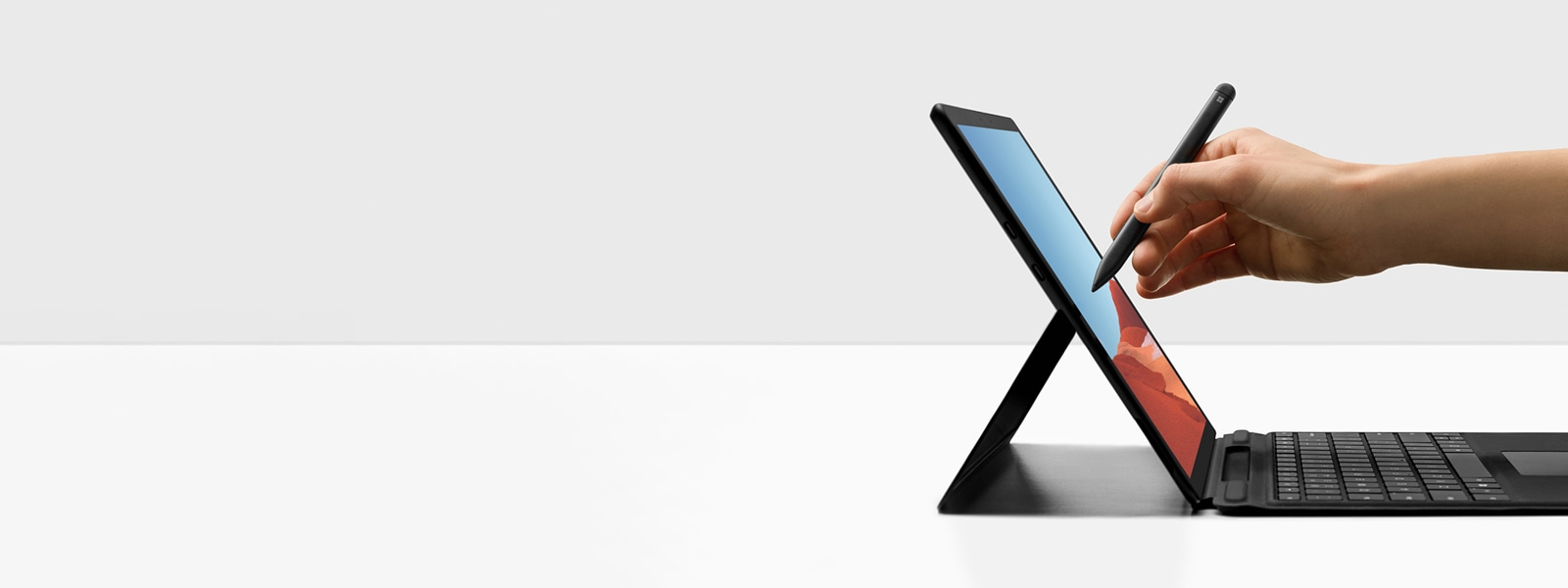A display of the new Surface Pro X