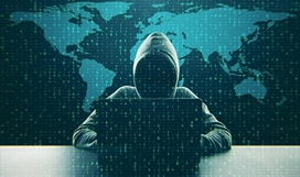 Illustration of a person wearing a hoodie with their face obscured sitting in front of a laptop with a world map in the background and lines of code over the entire image