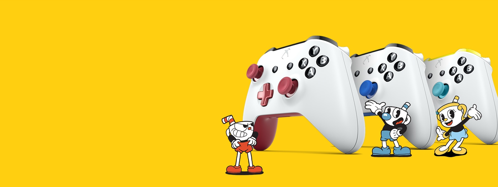 Yellow background with 3 Cuphead inspired Xbox one controllers in the foreground.