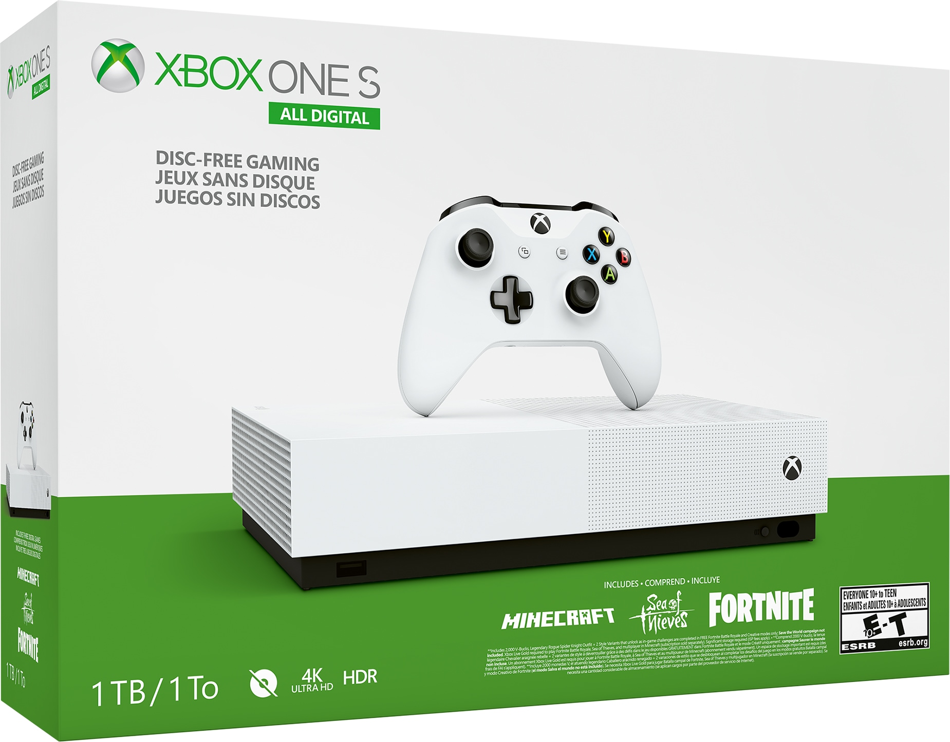 Microsoft® Xbox One S All-Digital Edition 1TB with Minecraft, Sea Of Thieves and Fortnite