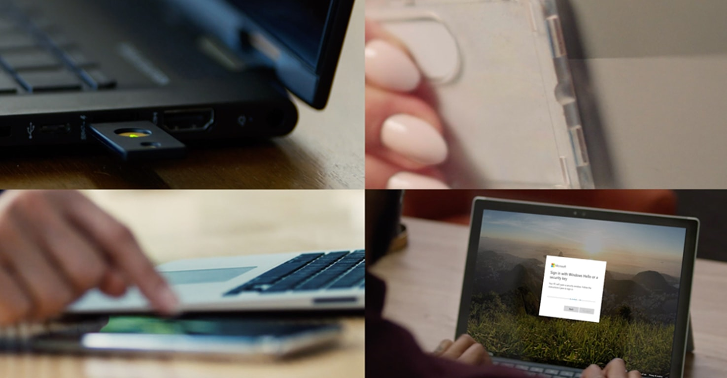 Clockwise from top left: a security device plugged into a laptop, a hand holding a mobile phone; a person looking at a login page on a laptop screen; hand of a person using a mobile phone and laptop side by side.