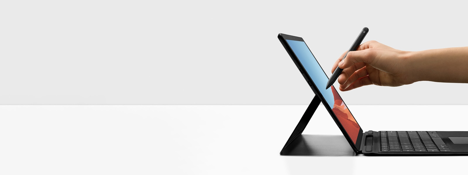 A display of the new Surface Pro X.