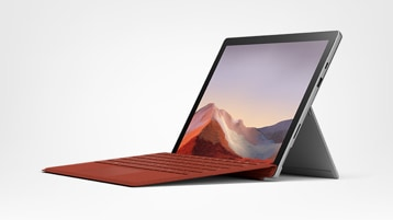 A new Surface Pro 7 displaying mountains.